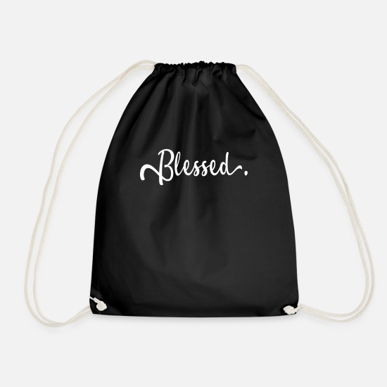 Blessed Bags & Backpacks - Blessed Blessed Blessed Blessed Begnadet - Drawstring Bag black