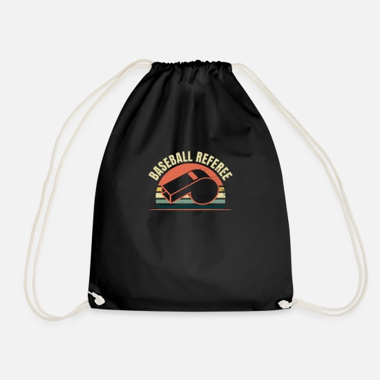 Bats Bags & Backpacks - Baseball Referee Vintage Retro Sunset Gift - Drawstring Bag black