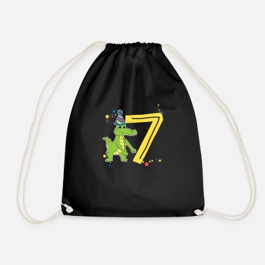 Reptile Reptile Birthday Flossing Crocodile 7 Years Gift - Drawstring Bag