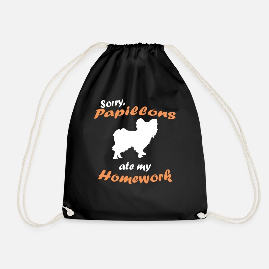 Paw Bags & Backpacks - Sorry My Papillon Ate My Homework T Shirt - Drawstring Bag black