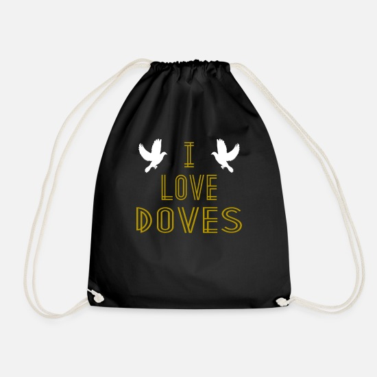 Pigeon Bags & Backpacks - I Love Doves Hipster Shirt - Drawstring Bag black