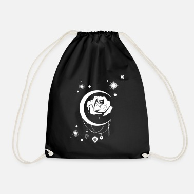Occult Occult Vintage Moon Rose - Witchcraft Occult - Drawstring Bag