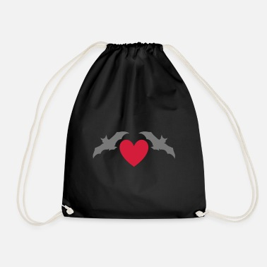Pygmy Bat Two bats and a heart - Drawstring Bag