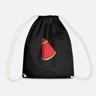 Graphic Art Watermelon does martial arts karate - Drawstring Bag