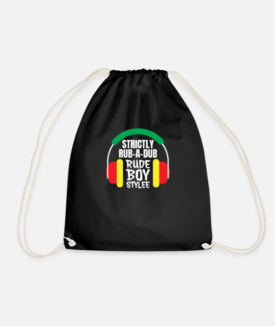 Ragga Bags & Backpacks - Dancehall Reggae Rub a Dub Headphones - Drawstring Bag black