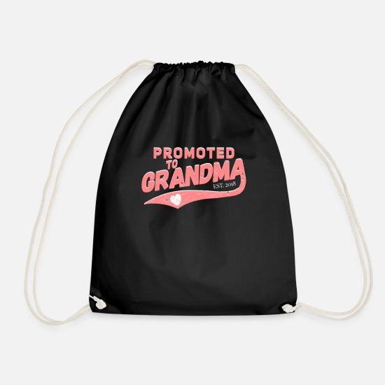 Grandmother Bags & Backpacks - Promoted to Grandma - Drawstring Bag black