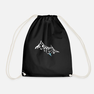 Snow Mountain Skiing Skier Ice Snow Skater Winter - Drawstring Bag