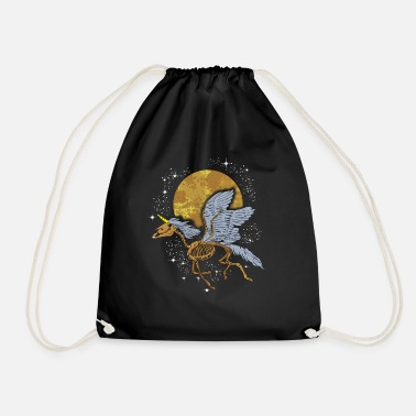Unicorn Pegasus Skeleton flying among Stars - Drawstring Bag