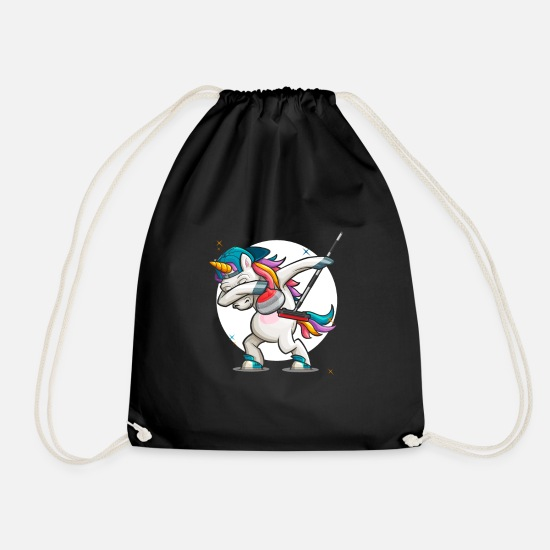 Birthday Bags & Backpacks - Dab Curling Unicorn Curling Ice Sports Gift - Drawstring Bag black