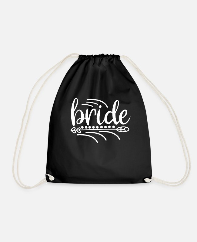 Engagement Bags & Backpacks - Bride wedding party gift - Drawstring Bag black