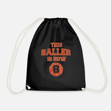 Match This Baller Is Now 8 - Kids 8th Birthday - Drawstring Bag