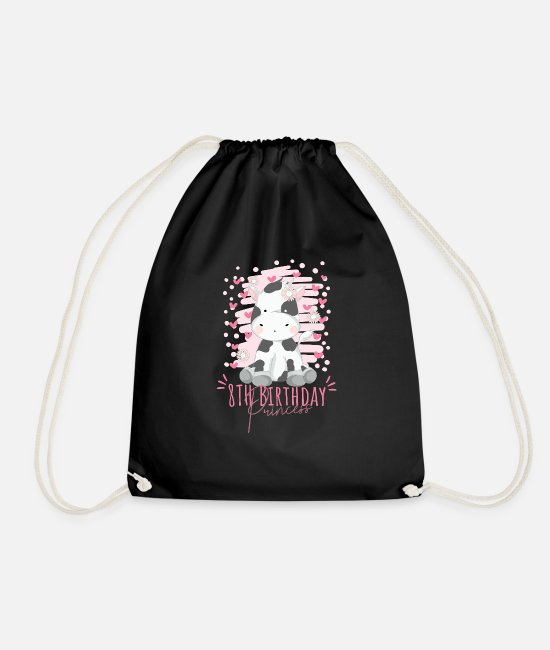 Eight Bags & Backpacks - 8th Birthday Princess Girl 8 Years Old Cow Lover - Drawstring Bag black