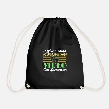 Job Underwear Video conference office humor work colleagues - Drawstring Bag