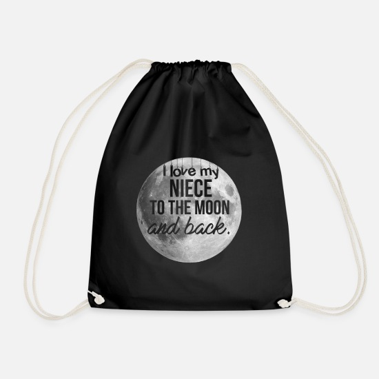 Niece Idea Gift Bags & Backpacks - Niece - I love my niece to the moon and back - Drawstring Bag black