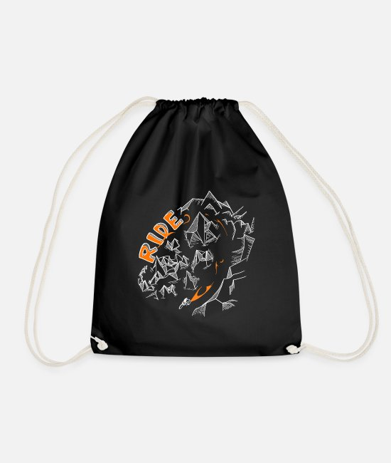 Mountains Bags & Backpacks - Ride Low Poly Mountains Perfect Graphic Logo Design - Drawstring Bag black