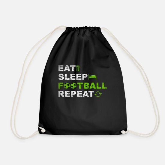 Football Pitch Bags & Backpacks - Eat Sleep Football Repeat Football Player - Drawstring Bag black