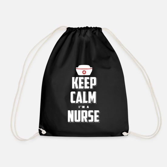 Nurse Borse & Zaini - Keep Calm I Am A Nurse T-Shirt Nurse - Sacca sportiva nero