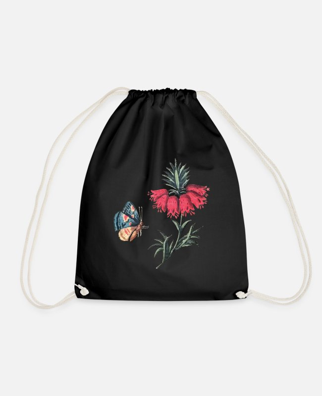 Red Bags & Backpacks - Flying butterfly with flowers - Drawstring Bag black
