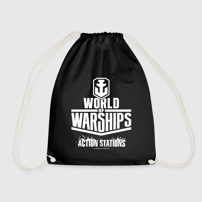World of Warship Logo white - Drawstring Bag
