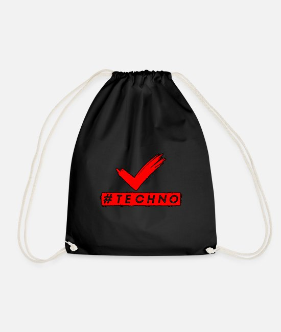 Bass Bags & Backpacks - Techno - Music - #techno - Drawstring Bag black
