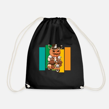 Witch Halloween pumpkin moped moped scooter gift - Drawstring Bag