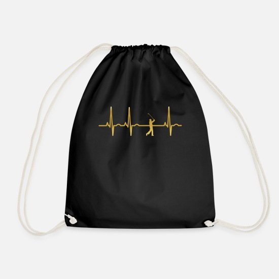 Birthday Bags & Backpacks - evolution ekg heartbeat golf sports golfer caddi - Drawstring Bag black