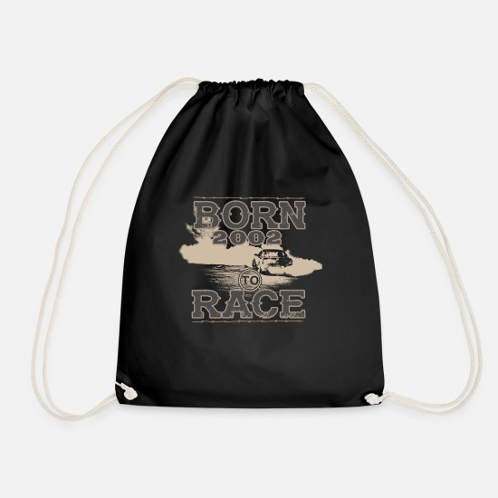 Birthday Bags & Backpacks - born to race racer racing car tuning 2002 - Drawstring Bag black