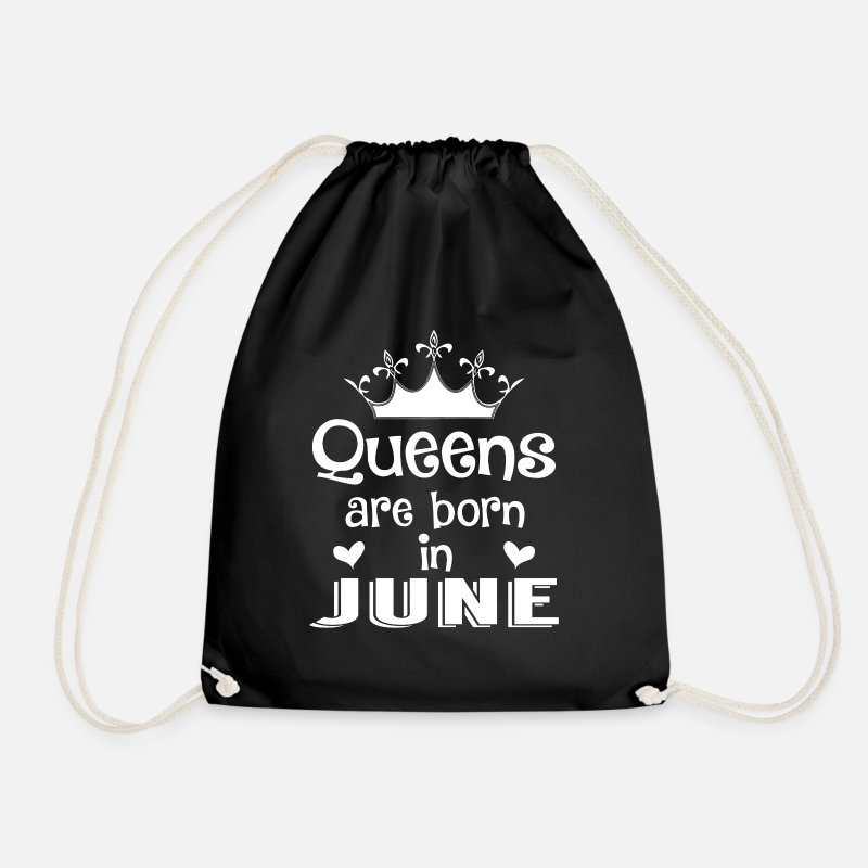 Birthday Bags & Backpacks - June - Queen - Birthday - 1 - Drawstring Bag black