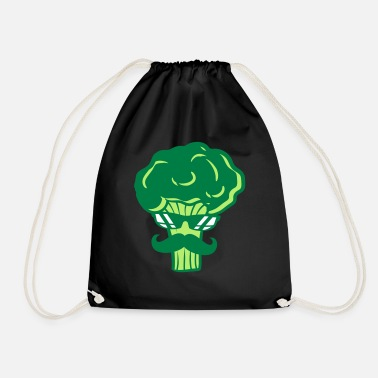 Story mustache broccoli sunglasses cool mustache ge - Drawstring Bag