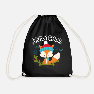 Winter Crazy Cold Fox Snow Gift Winter Xmas Idea - Drawstring Bag