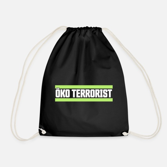 Enviromental Bags & Backpacks - Eco terrorist - Drawstring Bag black