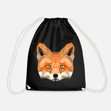 fox poly vixen fox illustration low poly head - Drawstring Bag a34223a7dcfea