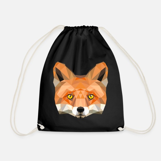 Bestsellers Q4 2018 Bags & Backpacks - fox poly vixen fox illustration low poly head - Drawstring Bag black