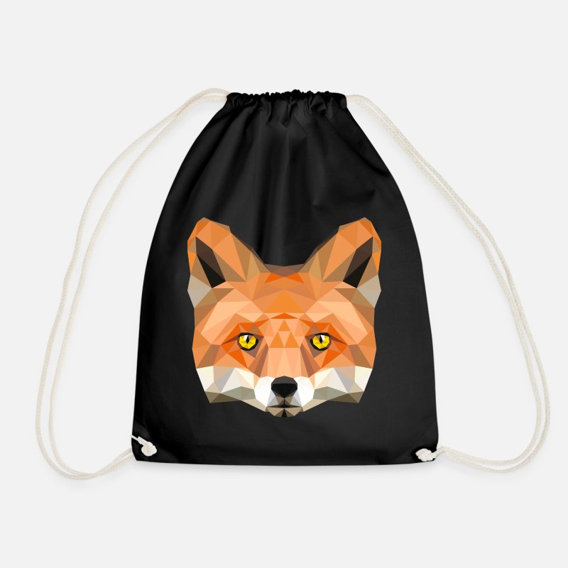 Fox Bags & Backpacks - fox poly vixen fox illustration low poly head - Drawstring Bag black