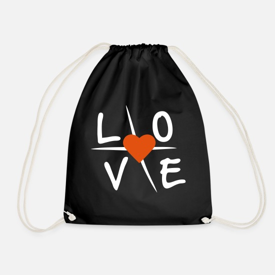 Love Bags & Backpacks - Love with heart - Drawstring Bag black