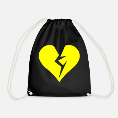Heartache Yellow heart broken heartache - Drawstring Bag