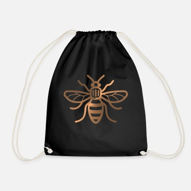 Manchester Manchester Bee - Brushed Metal Effect Print - Drawstring Bag