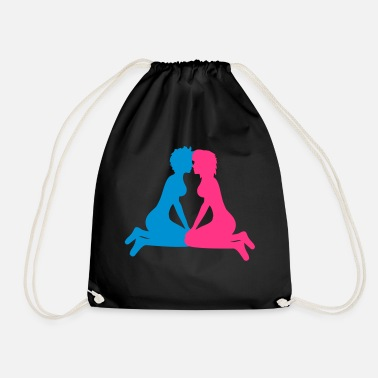 Kiss lesbian gay couple love in love kissing fre - Drawstring Bag