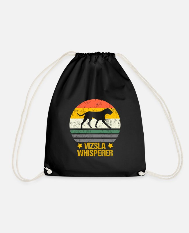 Drahthaar Bags & Backpacks - Hungarian Vizsla Whisperer retro gift idea - Drawstring Bag black
