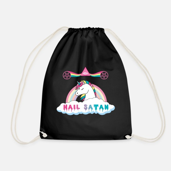 Satan Bags & Backpacks - Hail Satan's Unicorn - Drawstring Bag black