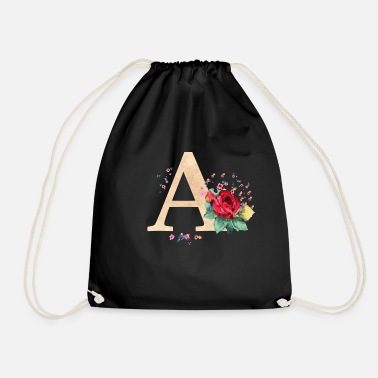 Initial Letter initial letter A initials roses - Drawstring Bag