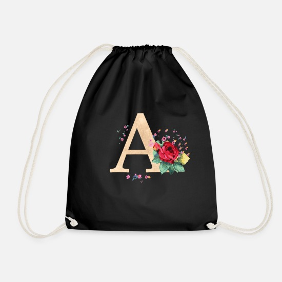 Initial Bags & Backpacks - Letter initial letter A initials roses - Drawstring Bag black