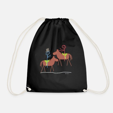 Relationship Marry horse, stick figure riding sport marriage - Drawstring Bag