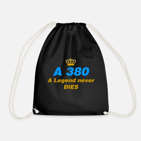 Gift Idea Bags & Backpacks - A380 Legend Never Give This Airliner Gift - Drawstring Bag black
