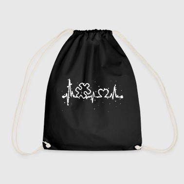 Autism Awareness Heartbeat T Shirt - Drawstring Bag