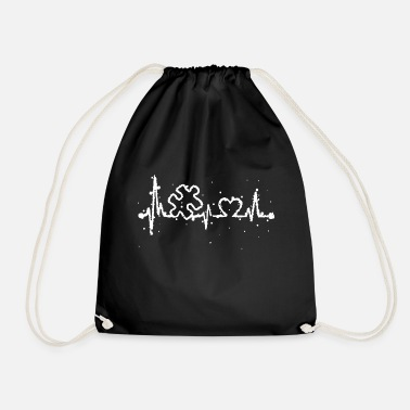 Day Autism Awareness Heartbeat T Shirt - Drawstring Bag