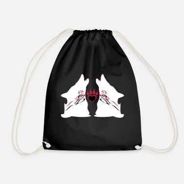 Howling Twin Wolves with Bloody Teeth - Drawstring Bag