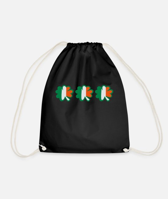 Best Awesome Superb Cool Amazing Identity Ethnicity Race People Language Country Design Bags & Backpacks - ♥ټ☘Kiss the Irish Shamrocks to Get Lucky☘ټ♥ - Drawstring Bag black