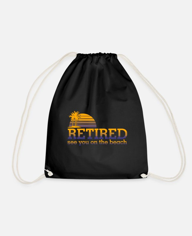 Stand Bags & Backpacks - Retired Pensioner Pension Beach Financial Freedom - Drawstring Bag black