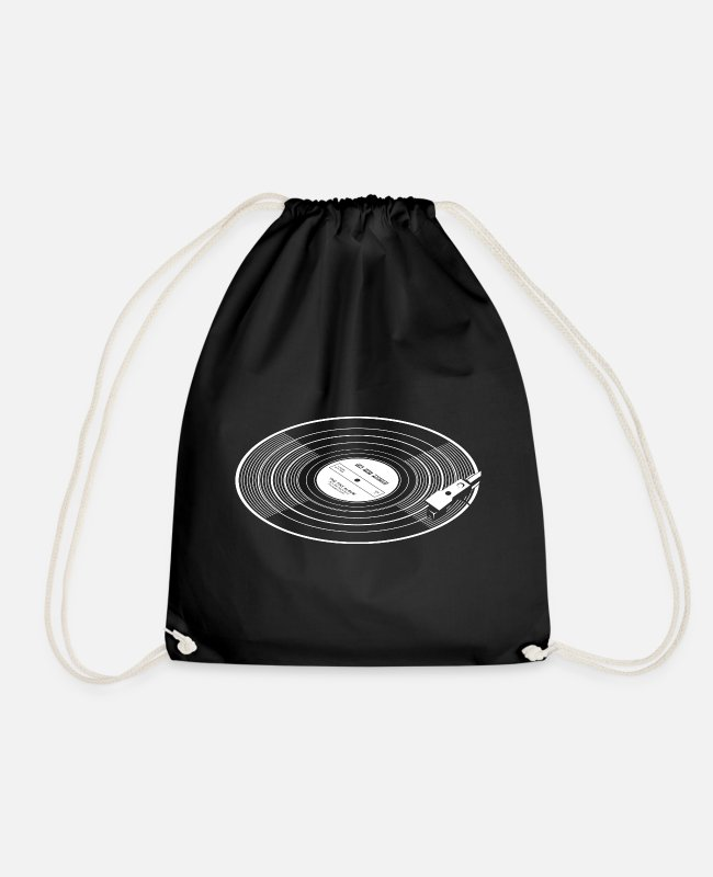 Turn Table Bags & Backpacks - Vinyl record with stylus - Drawstring Bag black